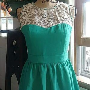 Esley Jade Green Floral Panel Inset Dress